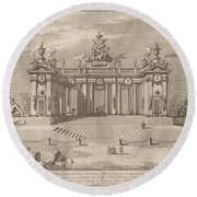 "The School Of Athens Arcades, For The ""chinea"" Festival Round Beach Towel"