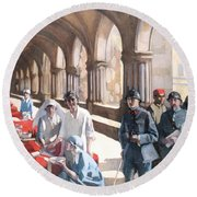 The Scottish Women's Hospital - In The Cloister Of The Abbaye At Royaumont. Round Beach Towel
