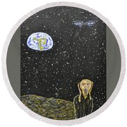 The Scream And Planets  Round Beach Towel