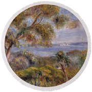 The Sea At Cagnes Round Beach Towel