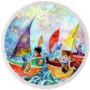 The Sea Cruise Of Tivoli Gardens Round Beach Towel