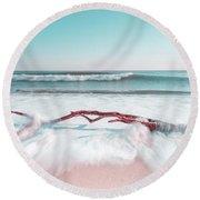 The Sea Green Ocean Fine Art Print Round Beach Towel
