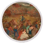 The Sea Of Bacchus Round Beach Towel