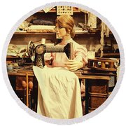 The Seamstress At Work Round Beach Towel