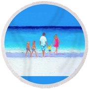 The Seaside Holiday - Beach Painting Round Beach Towel