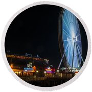 The Seattle Great Wheel 2 Round Beach Towel