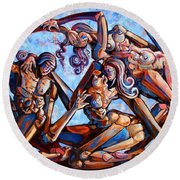 The Seduction Of The Muses Round Beach Towel