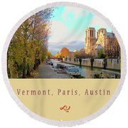The Seine And Quay Beside Notre Dame, Autumn Cover Art Round Beach Towel