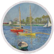 The Seine At Argenteuil Round Beach Towel