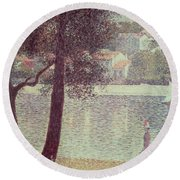 The Seine At Courbevoie Round Beach Towel