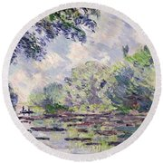 The Seine At Giverny Round Beach Towel