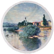 The Seine At Lavacourt Round Beach Towel by Claude Monet
