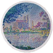 The Seine At Mantes, By Paul Signac, 1899-1900, Kroller-muller M Round Beach Towel