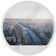 The Seine River In Paris Round Beach Towel