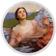 The Sense Of Sight By Annie Swynnerton  Round Beach Towel