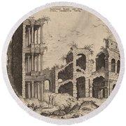 The Septizonium And The Colosseum Round Beach Towel