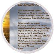 The Serenity Prayer Round Beach Towel by Barbara Snyder