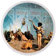 The Serpent Charmer Round Beach Towel by Jean Leon Gerome