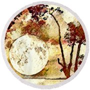 The Setting Moon Round Beach Towel