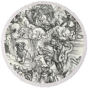 The Seven-headed Beast And The Beast With Lamb's Horns Round Beach Towel