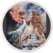The Seven Spirits Series - The Spirit Of Might Round Beach Towel