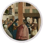 The Seven Works Of Mercy Round Beach Towel