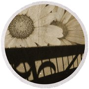 The Shadow Flowers Round Beach Towel