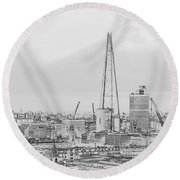 The Shard Outline Poster Bw Round Beach Towel