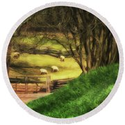 The Sheep's In The Meadow Round Beach Towel