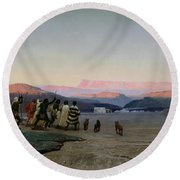 The Shepherds Led By The Star Arriving At Bethlehem Round Beach Towel by Octave Penguilly lHaridon