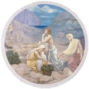 The Shepherd's Song, 1891 Round Beach Towel