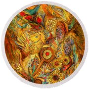 The Shining Of Gold Round Beach Towel