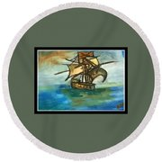 The Ship Plying On The River Round Beach Towel