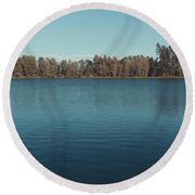 The Shore Of Flathead River Round Beach Towel