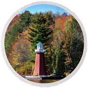 The Shoul Point Lighthouse Round Beach Towel