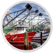 The Shrimpers Salute Round Beach Towel
