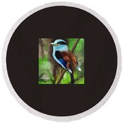 The Silver Breasted Broadbill Round Beach Towel