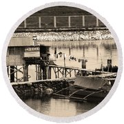 The Simple Life In Living Sepia Round Beach Towel