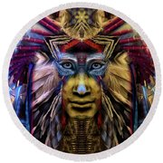 The Sioux Spirit - The Plumed Lion Round Beach Towel