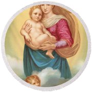The Sistine Madonna Round Beach Towel