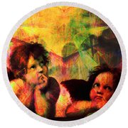 The Sistine Modonna Baby Angels In Abstract Space 20150622 Round Beach Towel