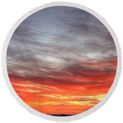 The Sky Is Smoking Hot In Widescape Round Beach Towel