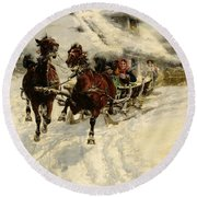 The Sleigh Ride Round Beach Towel