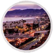 The Slow Drive Home Round Beach Towel