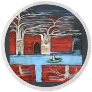 The Small Boat Round Beach Towel