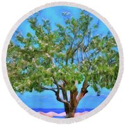 The Smiling Tree Of Benitses Round Beach Towel
