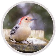 The Smiling Woodpecker  Round Beach Towel