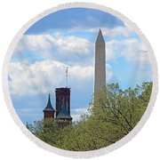 The Smithsonian Castle And Washington Monument In Green Round Beach Towel