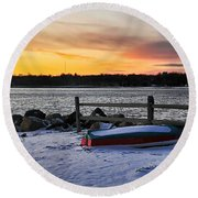 The Snow Boat Round Beach Towel