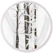 The Snow Just Won't Stop Round Beach Towel